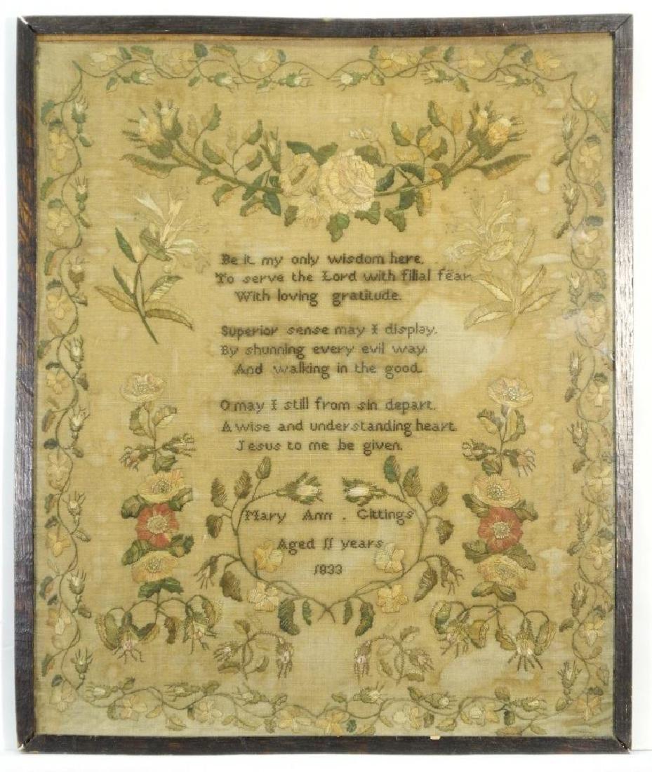19th. century sampler by Mary Ann Gittings 11 years
