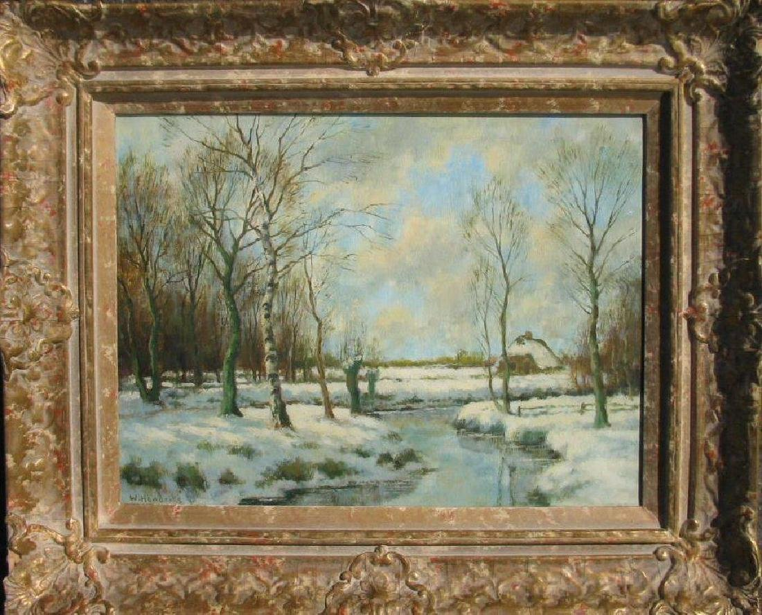 "Oil on canvas signed W. Hendriks, 12"" x 16', ""Winter by"
