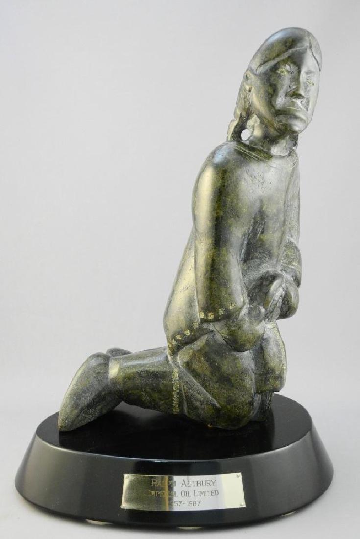 "Inuit carved stone figure signed Sita Sharkey, 11 3/4"","