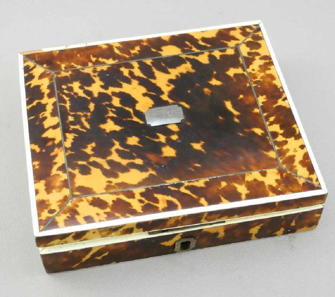 Early 19th century tortoise shell cased sewing