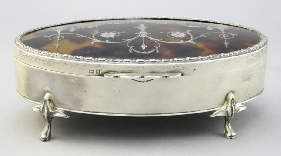 "Hallmarked silver dresser box with ""tortoise shell"""