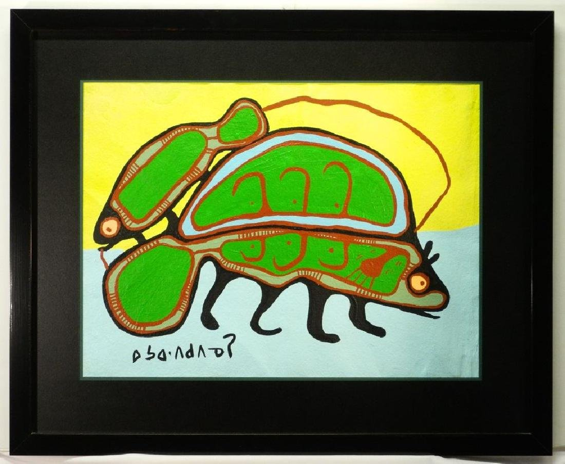 Mixed media signed with cartouche- Norval Morriseau,