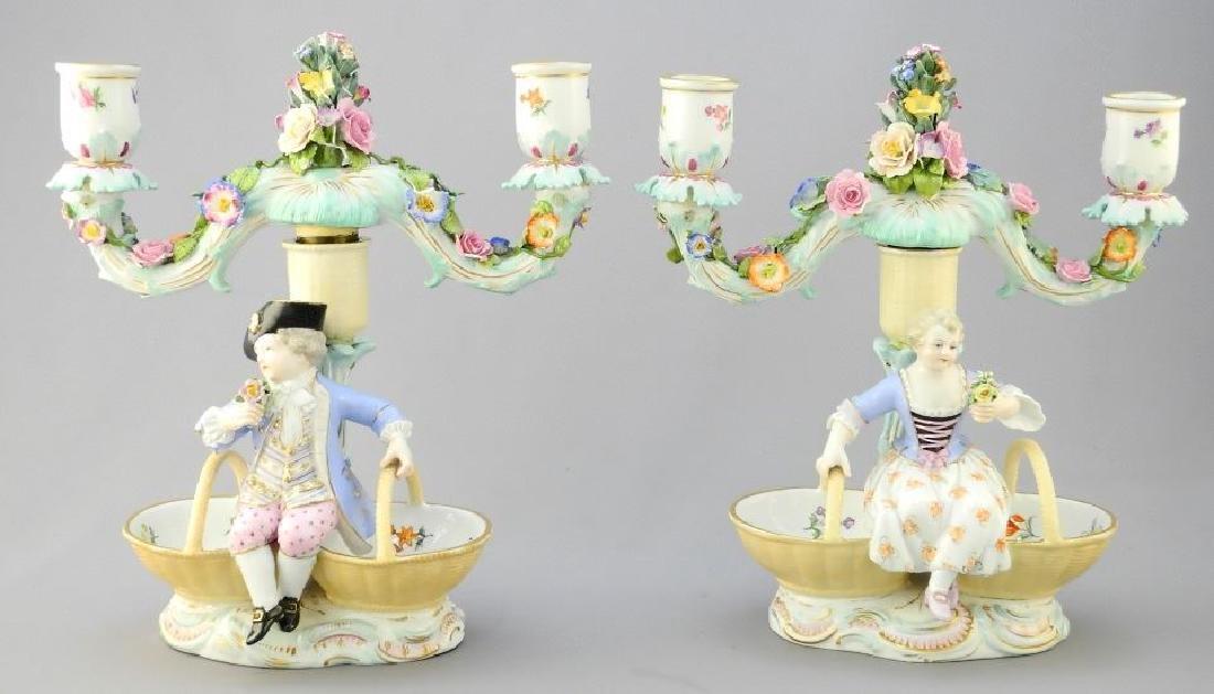 Pair of antique Meissen porcelain figured sweetmeat