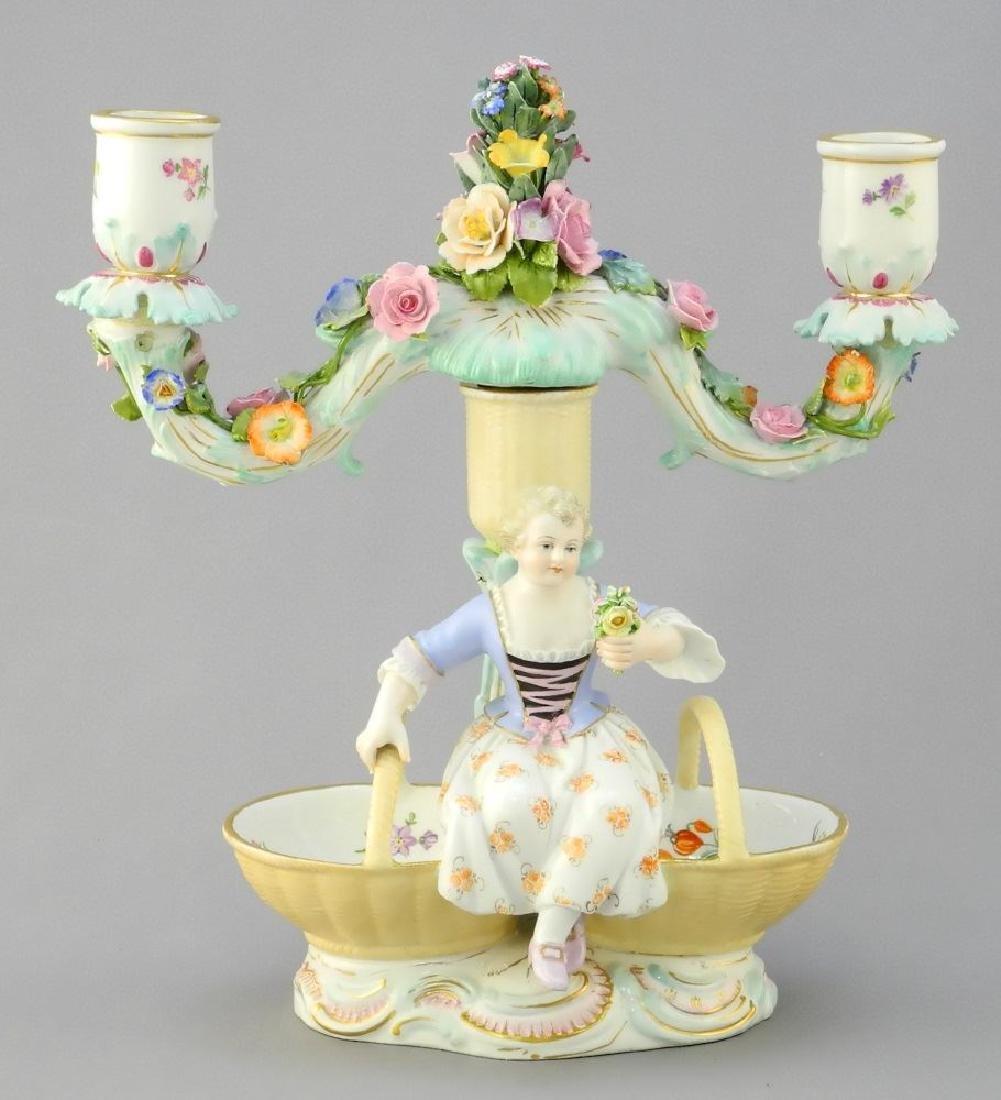 Pair of antique Meissen porcelain figured sweetmeat - 2