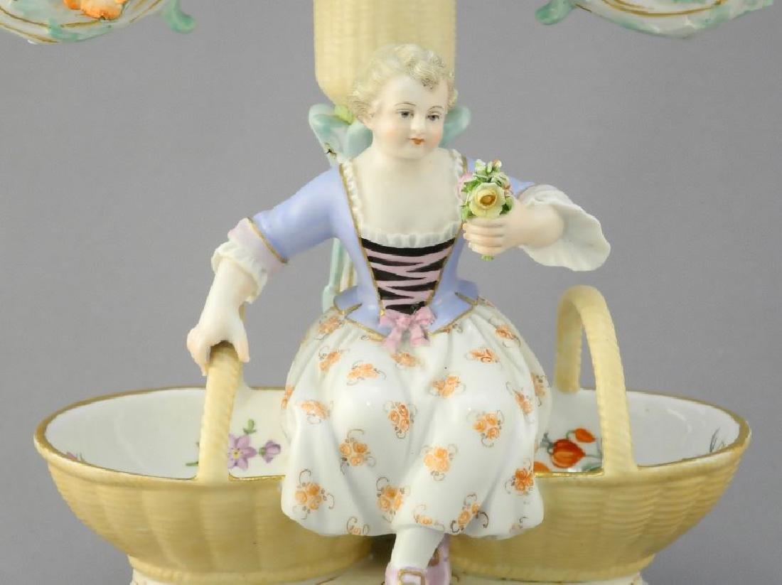 Pair of antique Meissen porcelain figured sweetmeat - 3