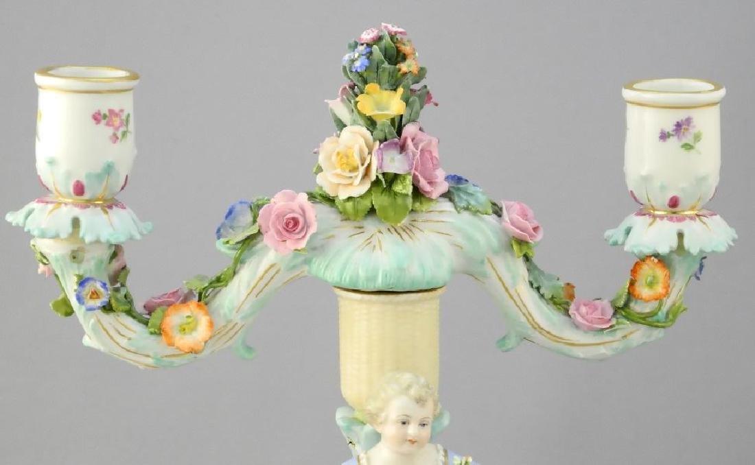 Pair of antique Meissen porcelain figured sweetmeat - 4
