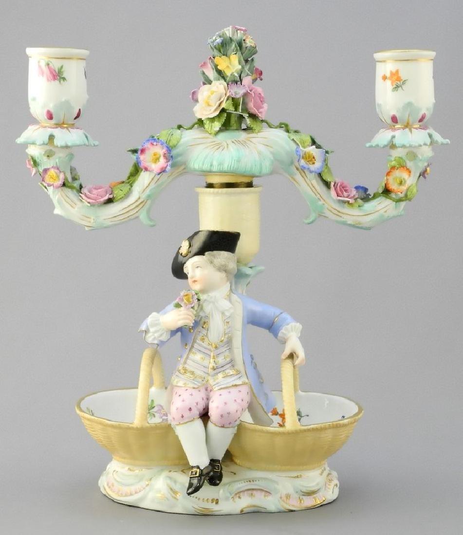 Pair of antique Meissen porcelain figured sweetmeat - 6