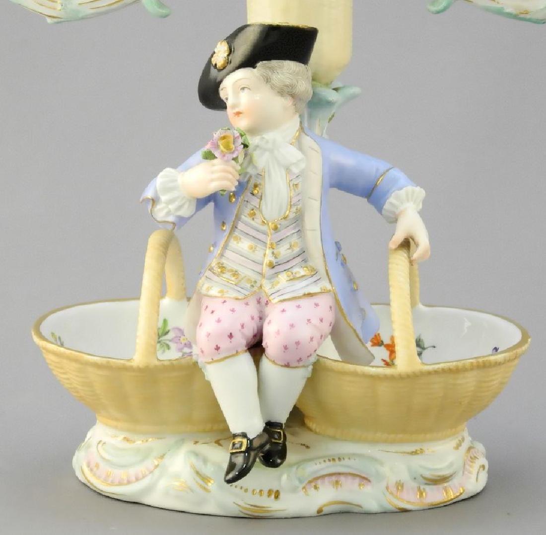Pair of antique Meissen porcelain figured sweetmeat - 7