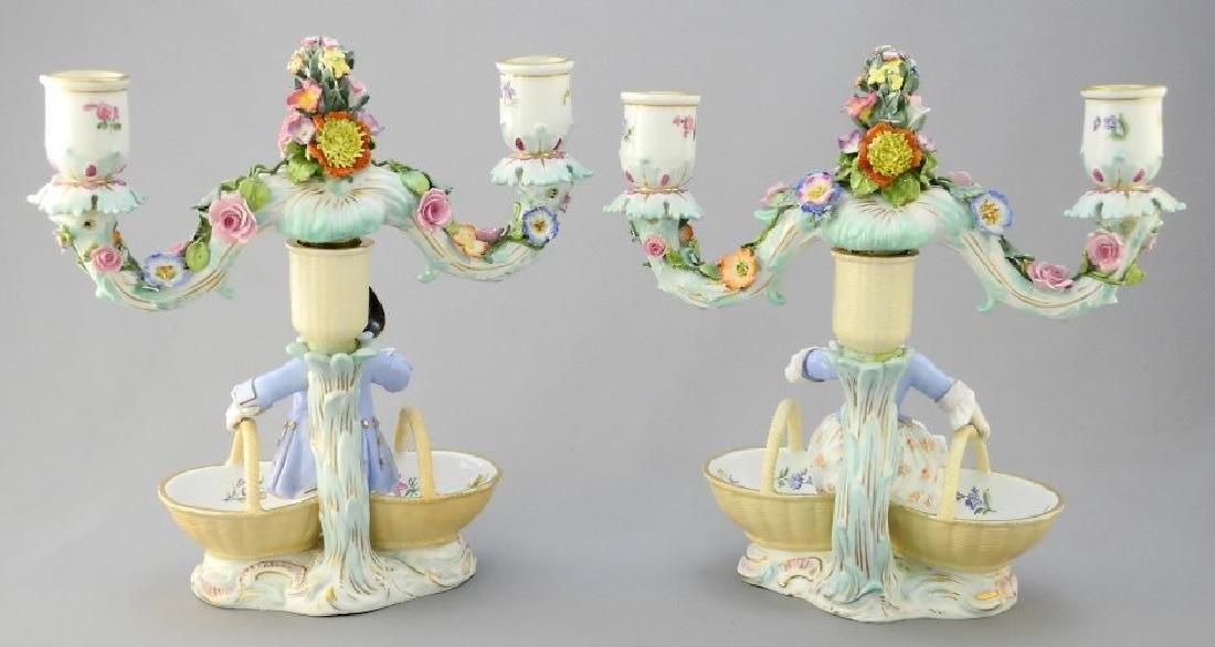 Pair of antique Meissen porcelain figured sweetmeat - 8