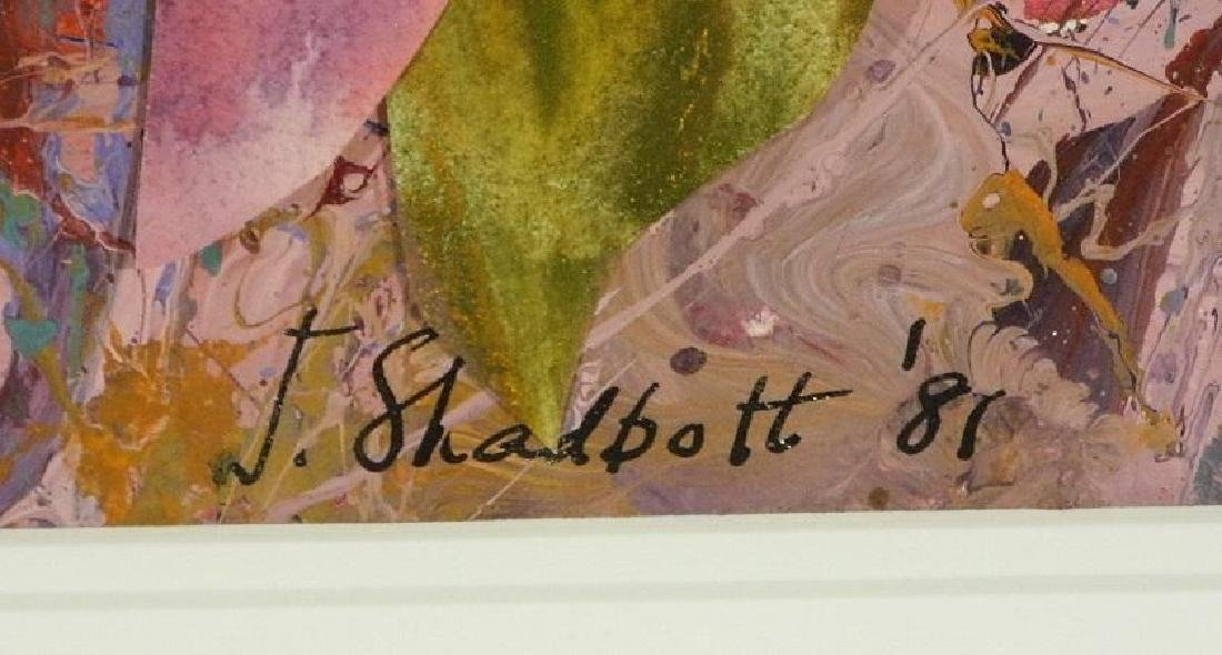 """Acrylic collage on paper signed J.Shadbolt '81, 22"""" x - 3"""