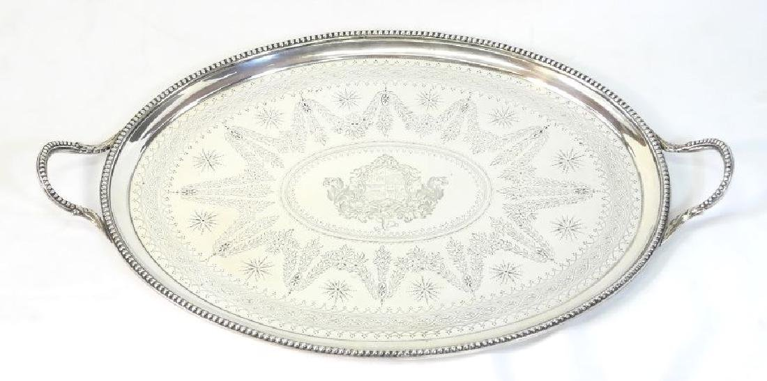 Victorian silver two handled oval tray London 1865,