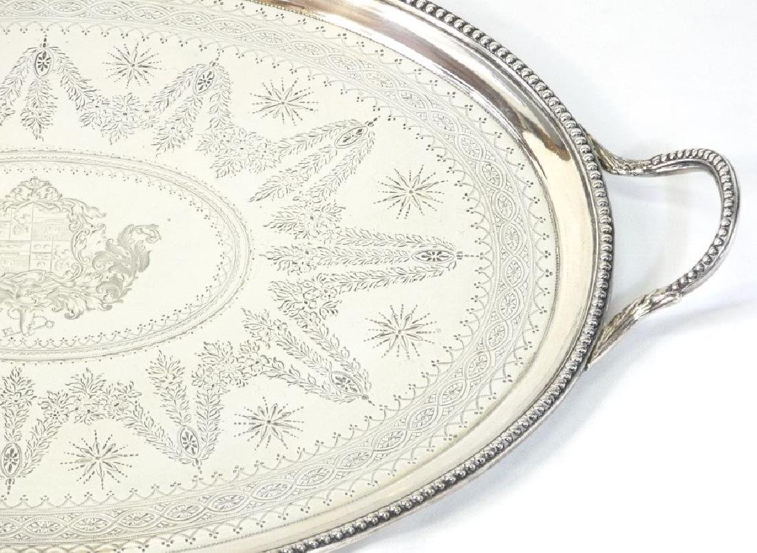 Victorian silver two handled oval tray London 1865, - 2
