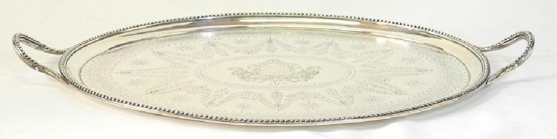 Victorian silver two handled oval tray London 1865, - 4