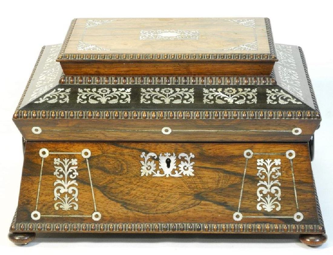 Victorian rosewood sewing box with mother of pearl