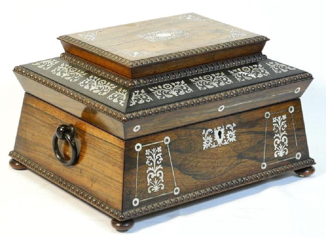 Victorian rosewood sewing box with mother of pearl - 2