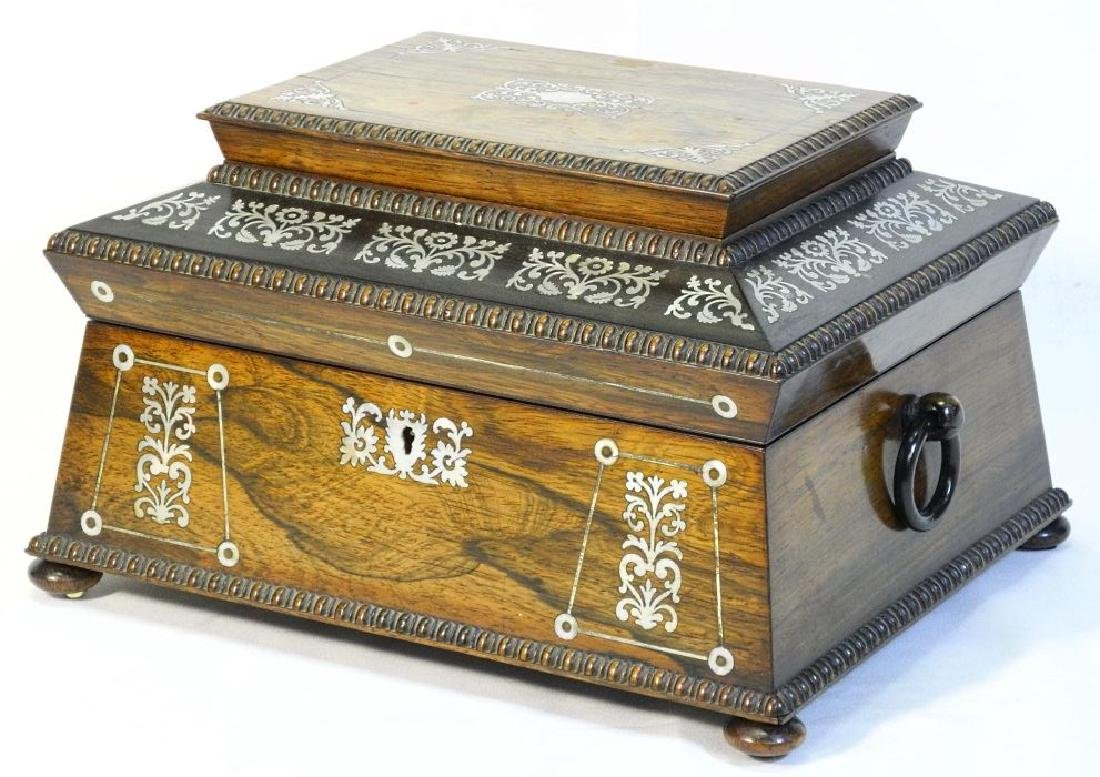 Victorian rosewood sewing box with mother of pearl - 3