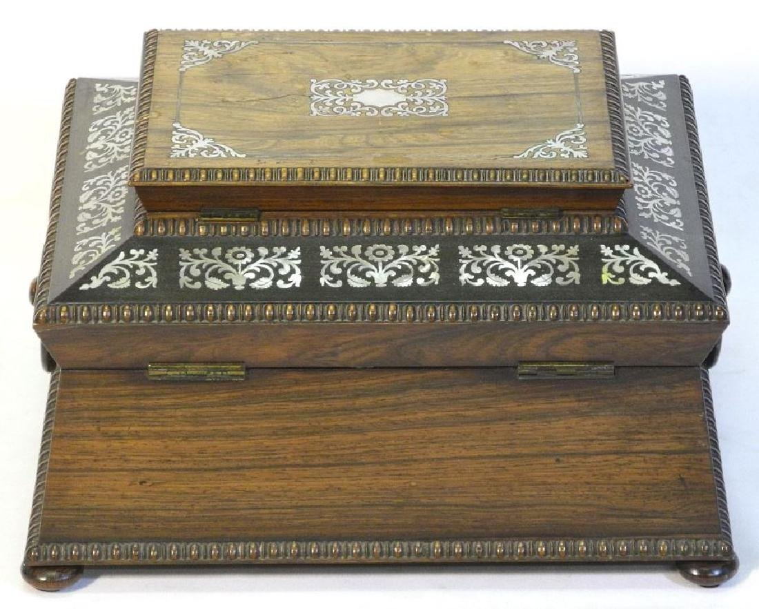 Victorian rosewood sewing box with mother of pearl - 4