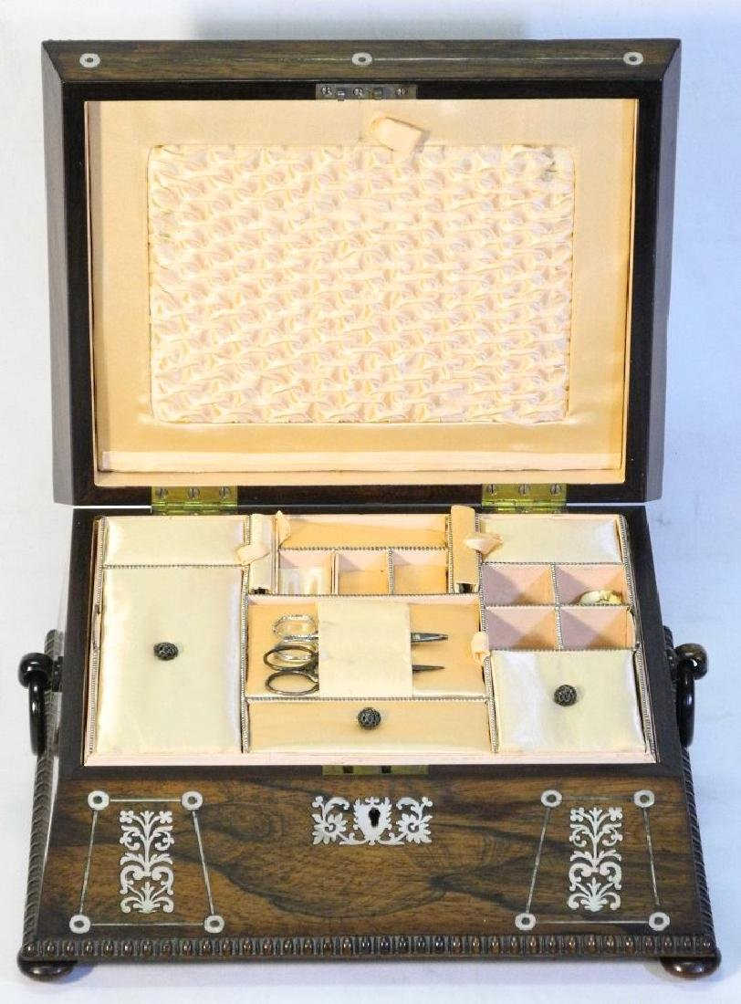 Victorian rosewood sewing box with mother of pearl - 5