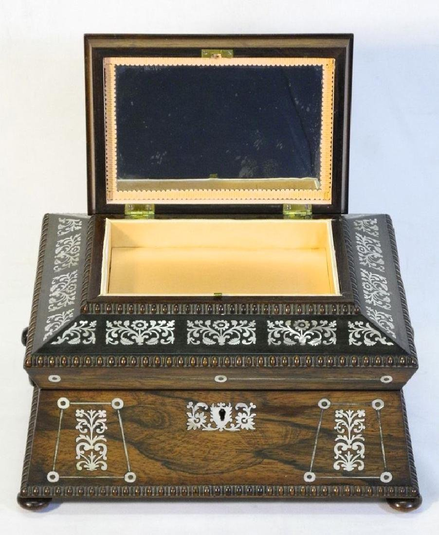 Victorian rosewood sewing box with mother of pearl - 6