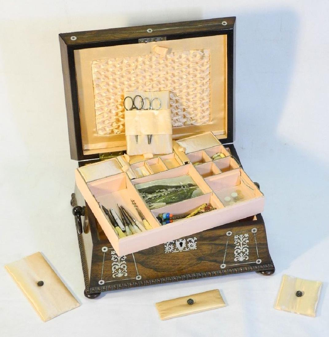 Victorian rosewood sewing box with mother of pearl - 7