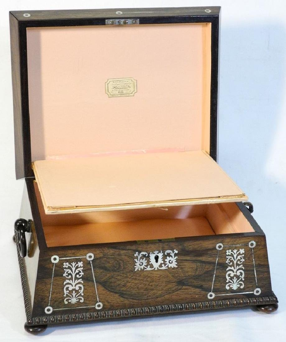Victorian rosewood sewing box with mother of pearl - 9