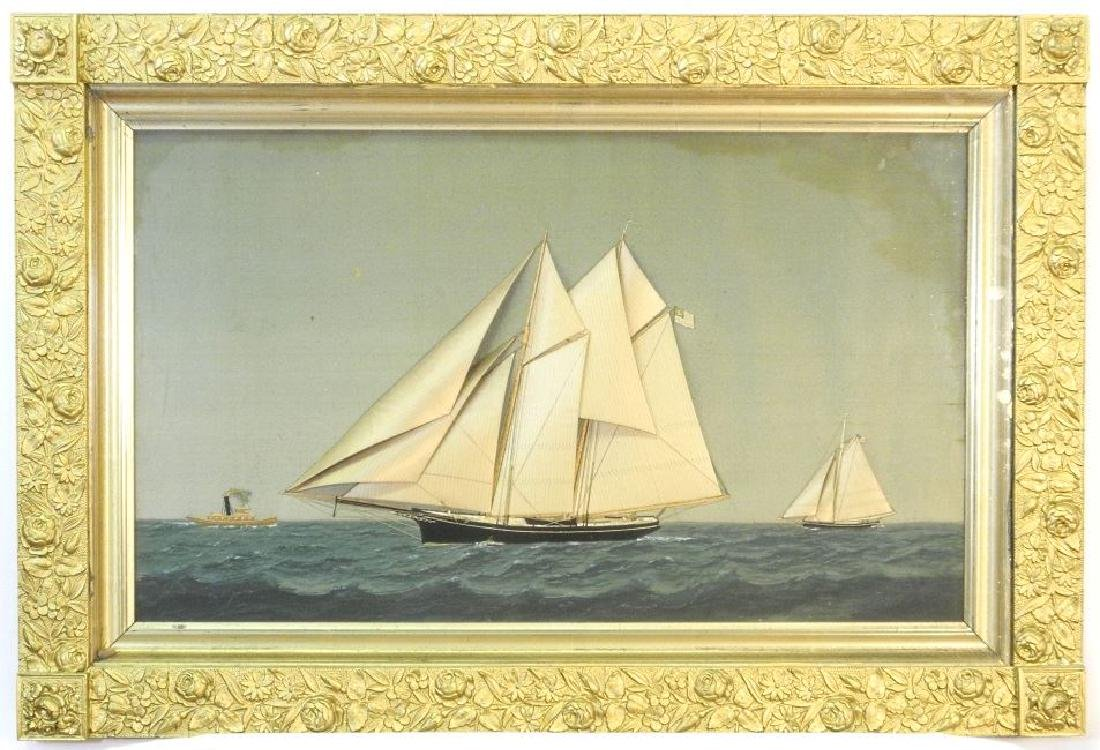 Silk embroidered picture & painting attr. to Thomas H.