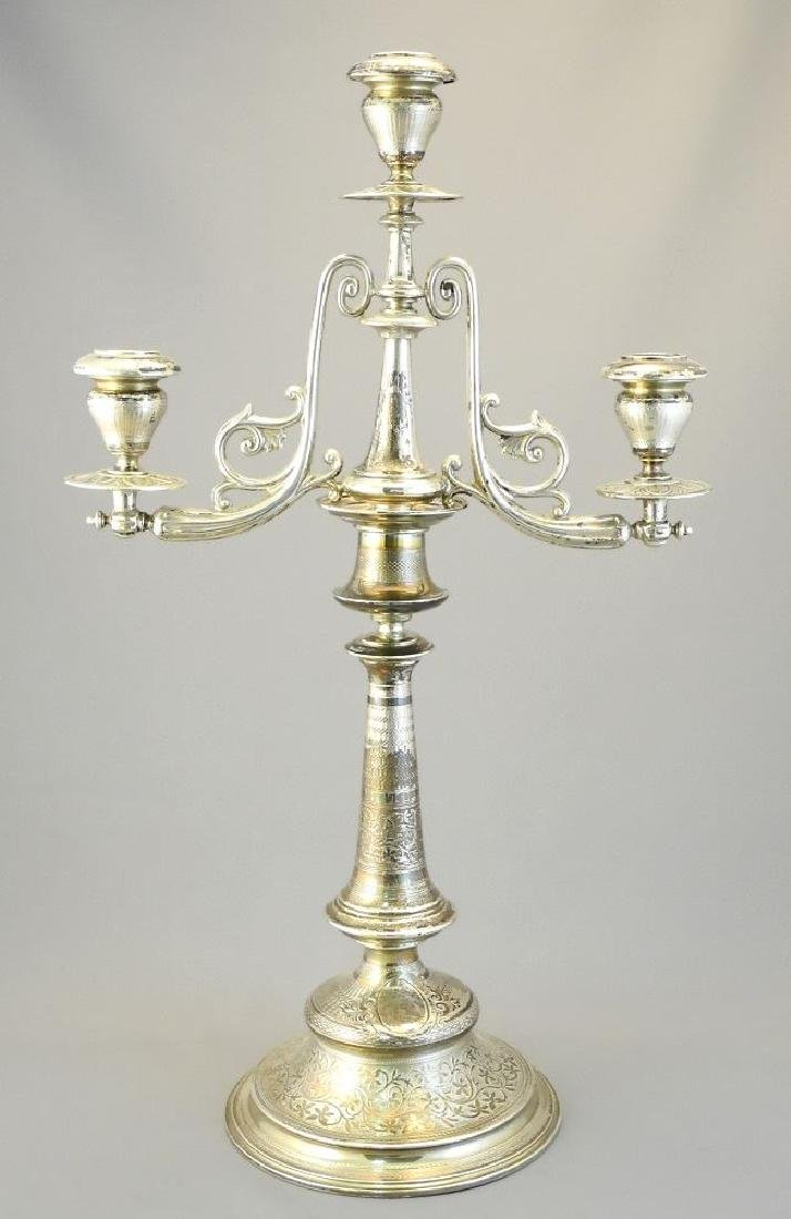 """Pair of Austrian silver candleabra, 17 1/4"""". - 2"""