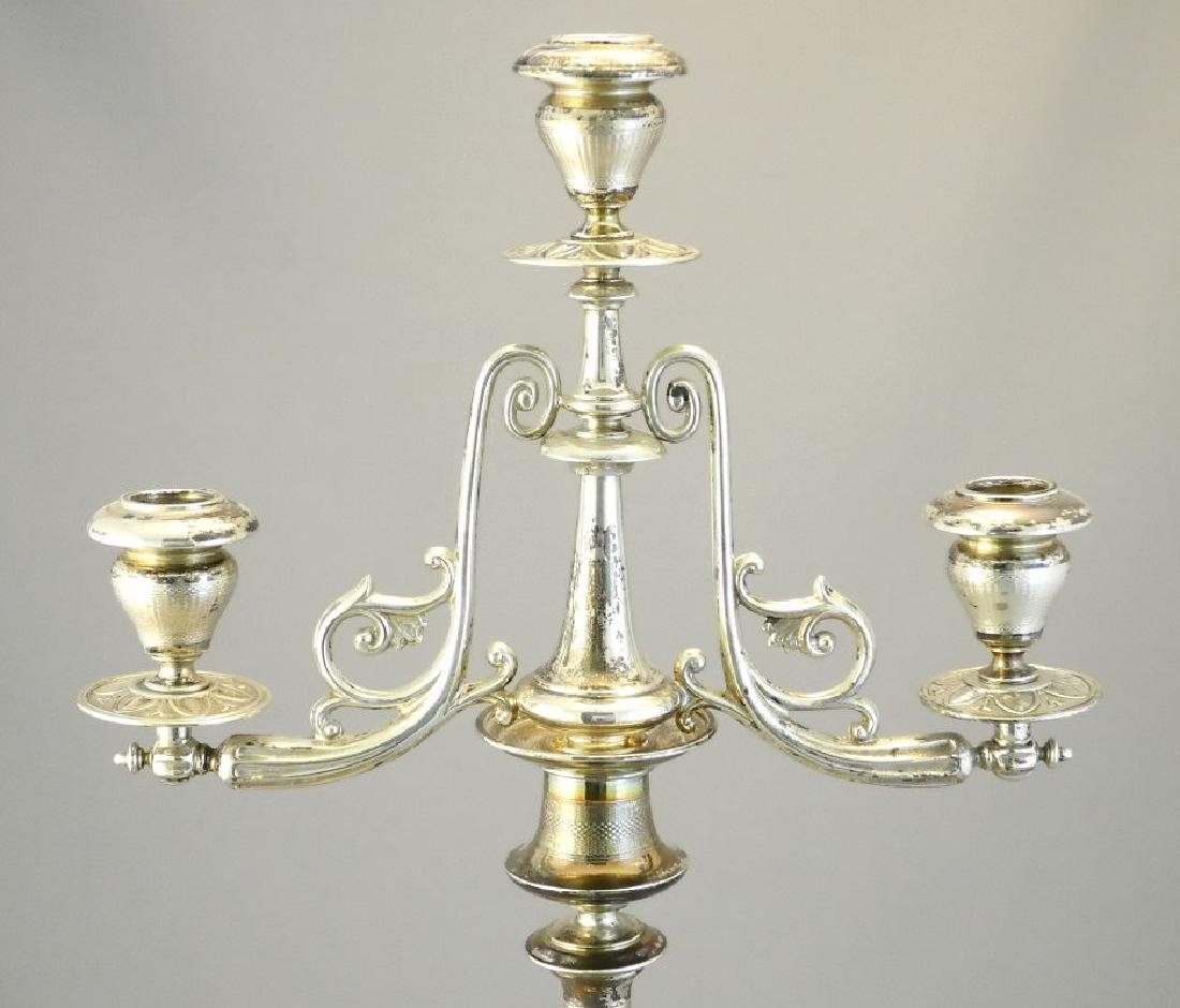 """Pair of Austrian silver candleabra, 17 1/4"""". - 3"""