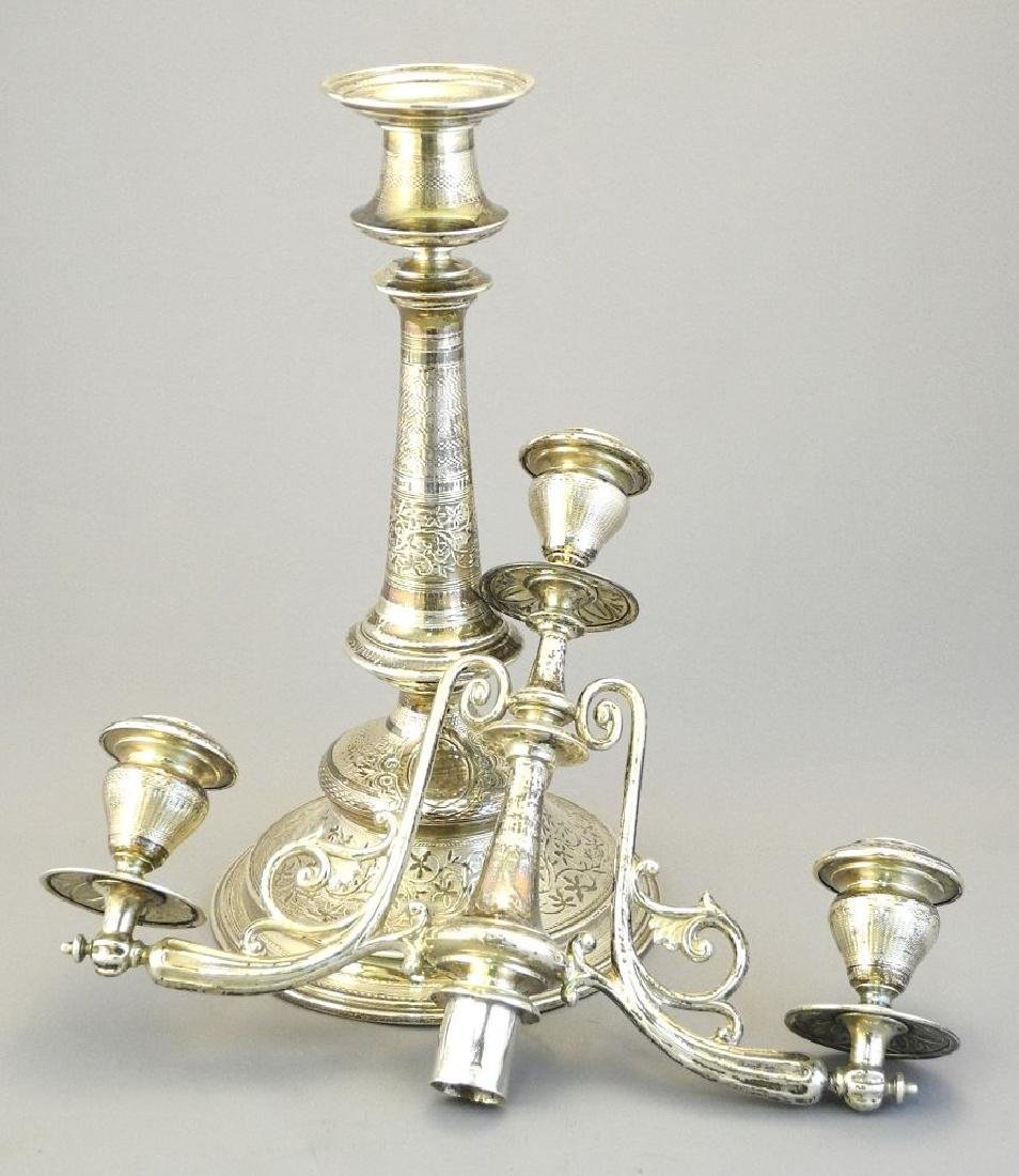 """Pair of Austrian silver candleabra, 17 1/4"""". - 4"""