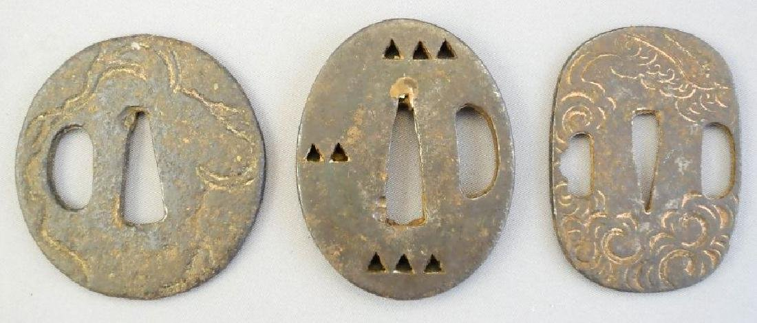"Three Japanese small metal tsuba, 2""."