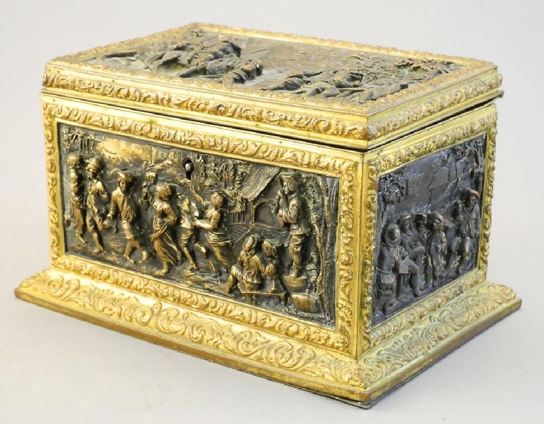 Late 19th. century French repousse dresser box signed