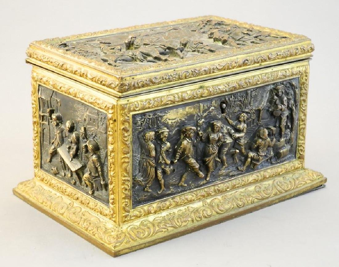 Late 19th. century French repousse dresser box signed - 2