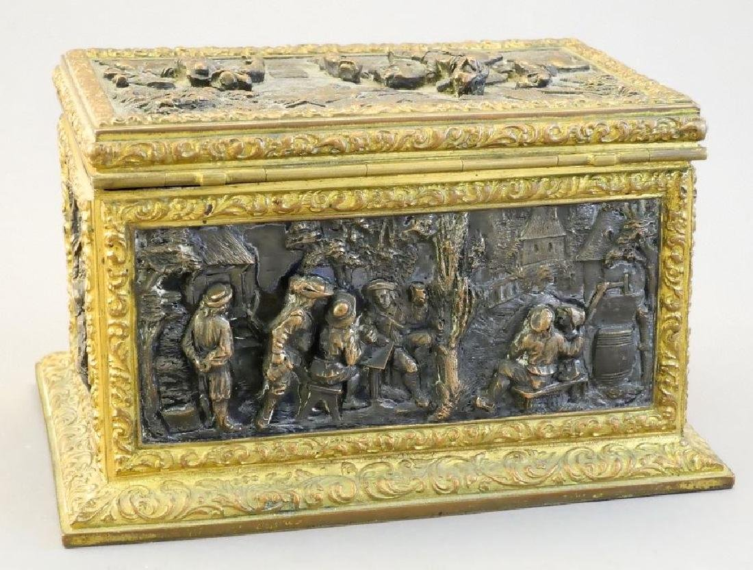 Late 19th. century French repousse dresser box signed - 4