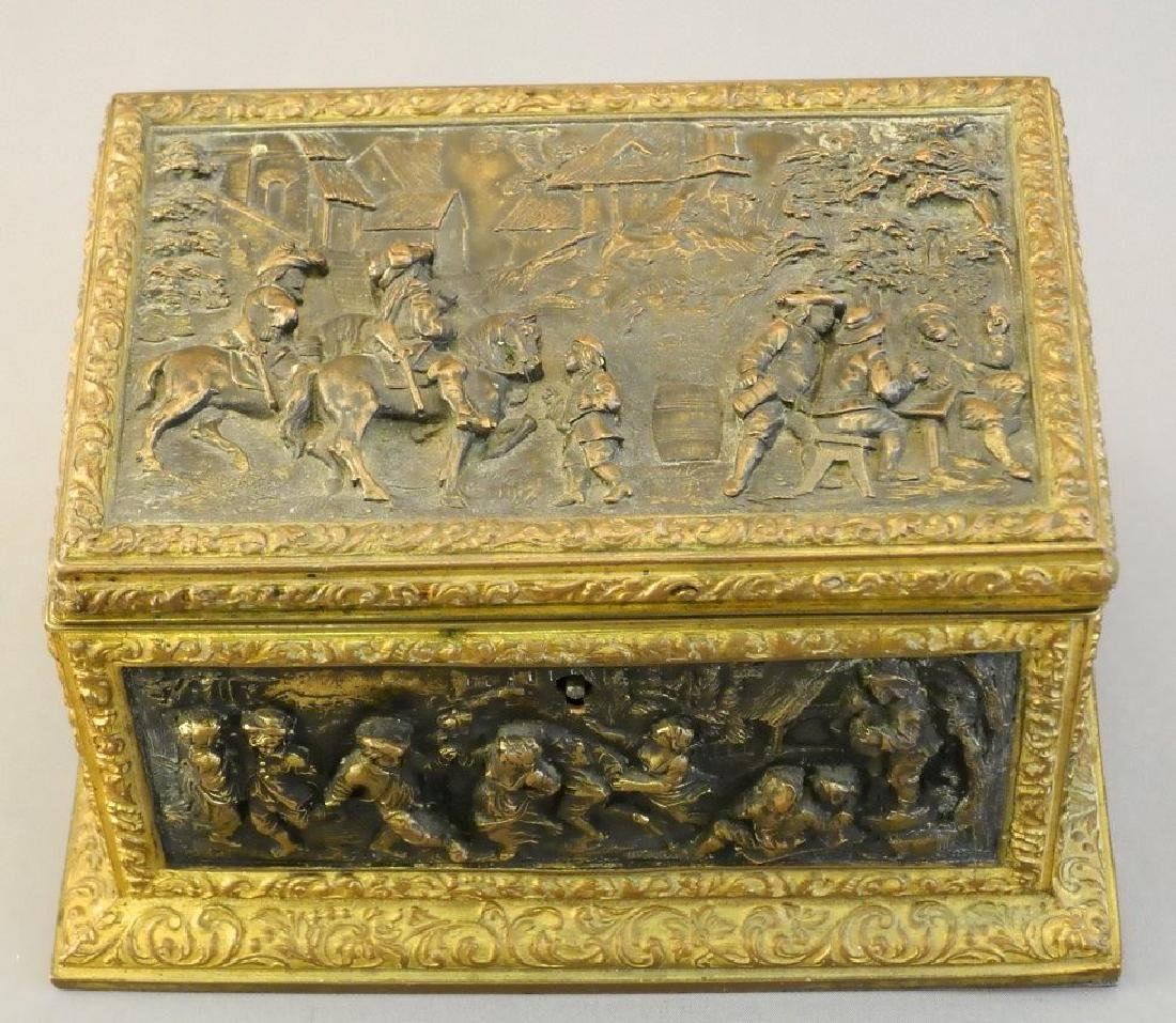 Late 19th. century French repousse dresser box signed - 5