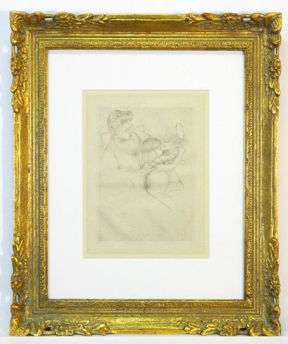 """Drypoint etching attr. to Mary Cassatt, 9 3/4"""" x 7"""