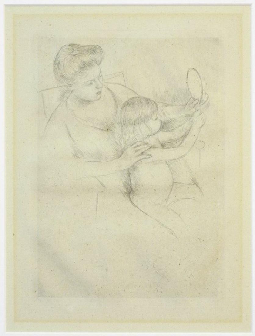 """Drypoint etching attr. to Mary Cassatt, 9 3/4"""" x 7 - 2"""