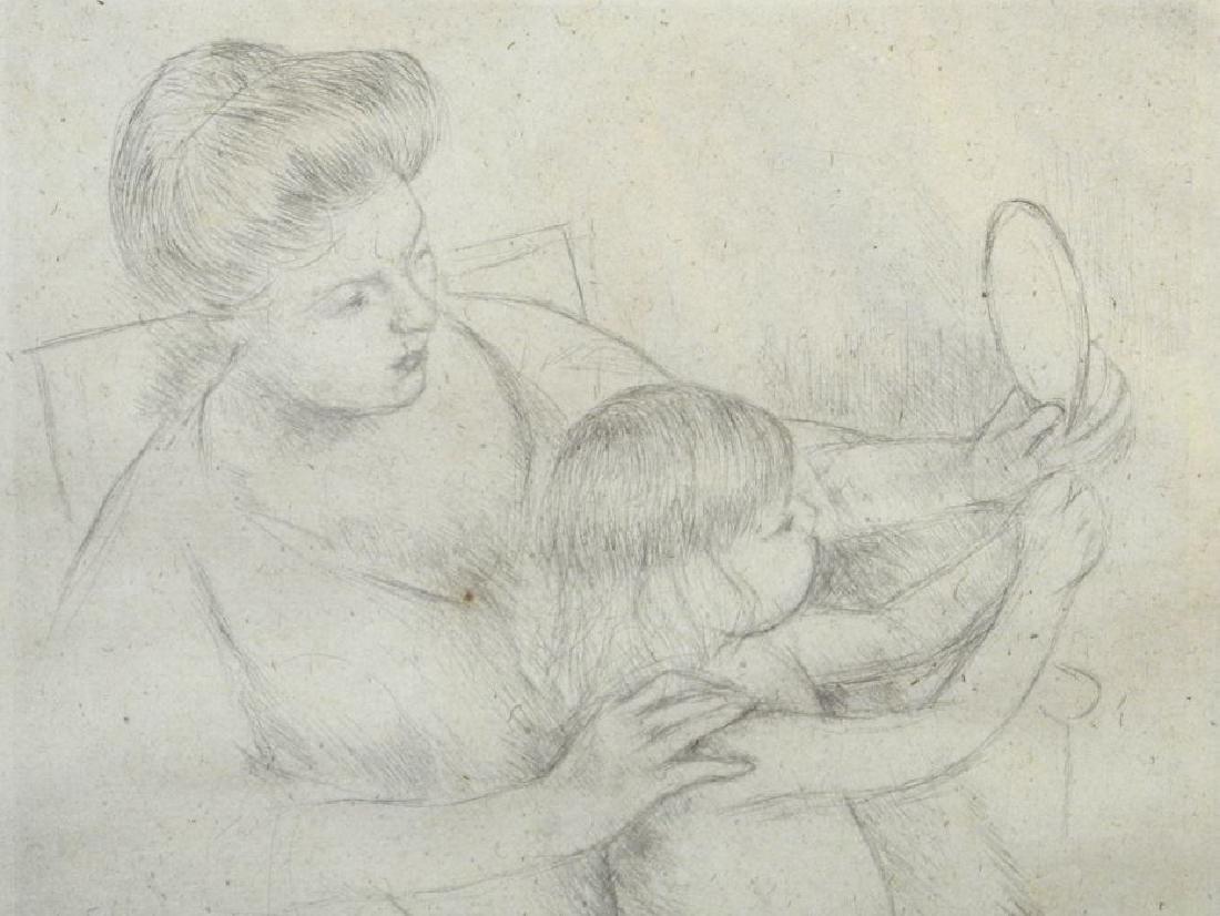 """Drypoint etching attr. to Mary Cassatt, 9 3/4"""" x 7 - 3"""