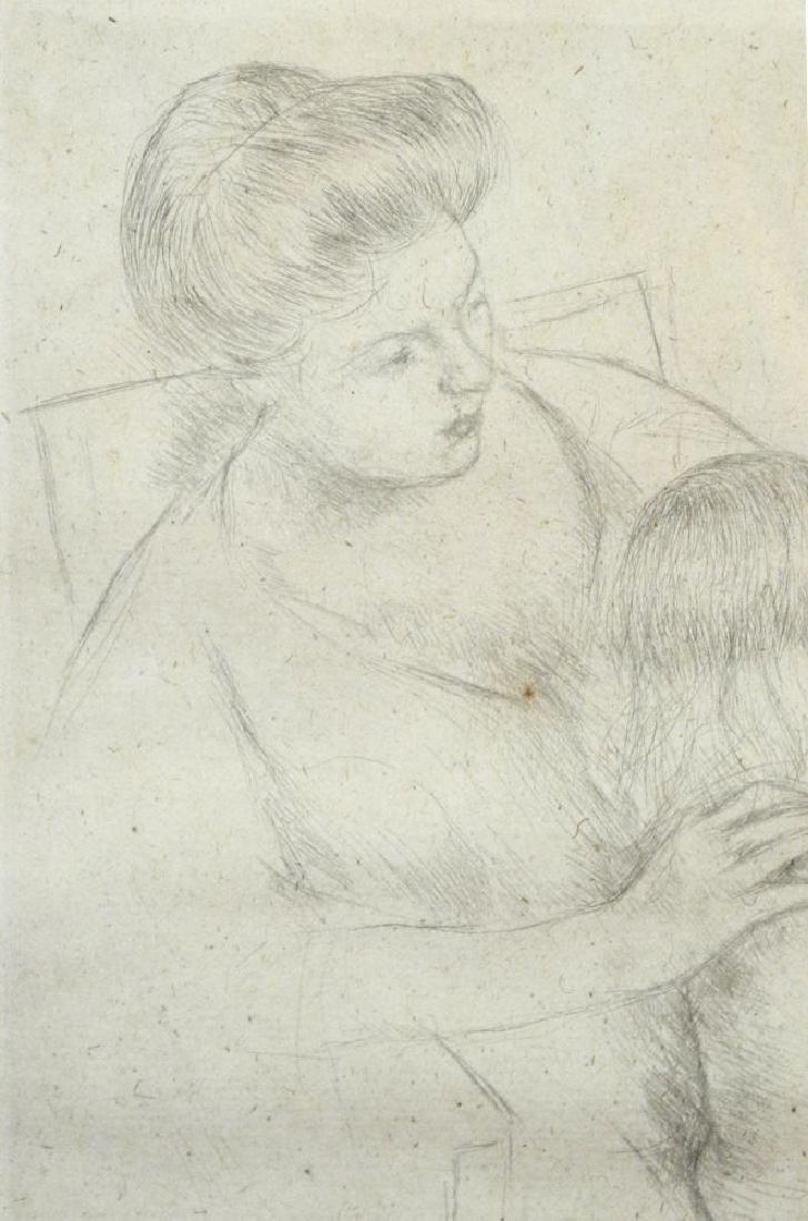 """Drypoint etching attr. to Mary Cassatt, 9 3/4"""" x 7 - 4"""
