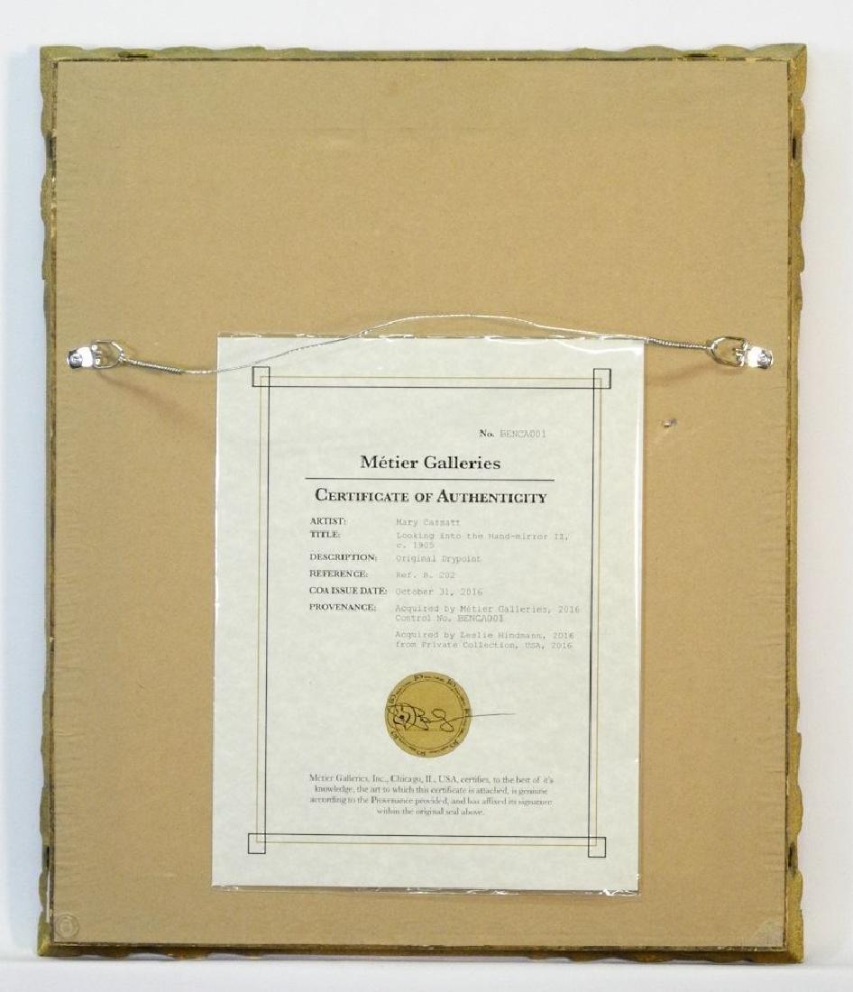 """Drypoint etching attr. to Mary Cassatt, 9 3/4"""" x 7 - 5"""