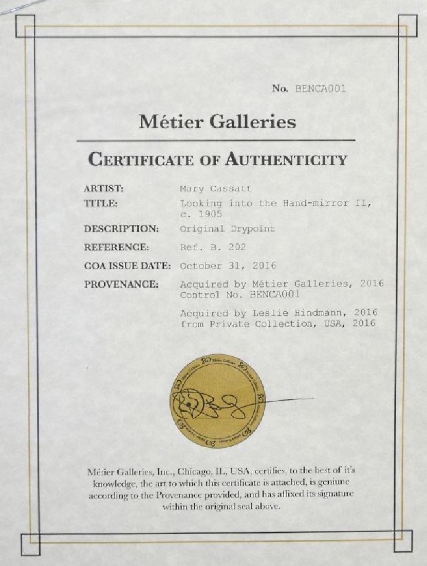"""Drypoint etching attr. to Mary Cassatt, 9 3/4"""" x 7 - 6"""