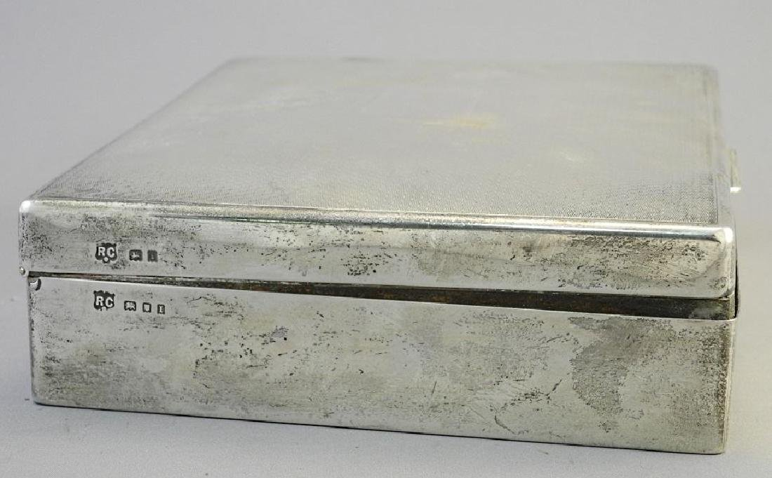 """Hallmarked silver cigarette box, 6 3/4"""". - 7"""