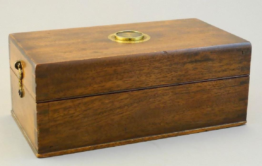 19th. century mahogany cased desk top brass microscope,
