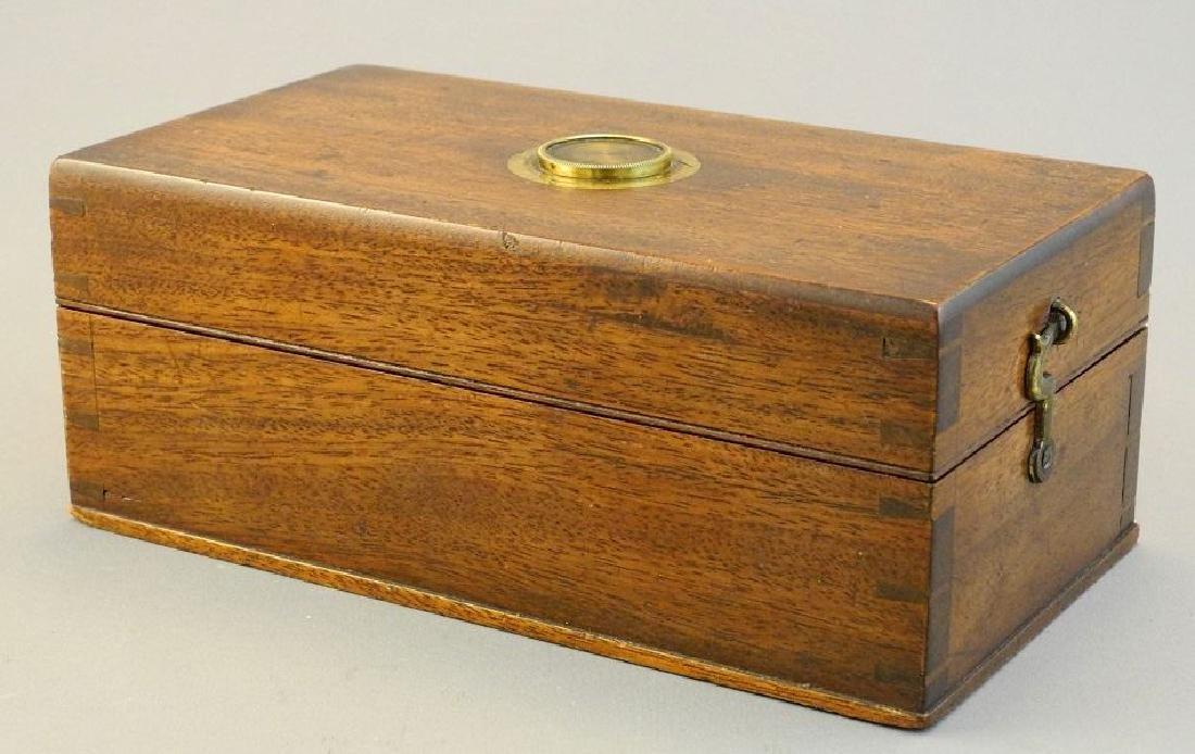 19th. century mahogany cased desk top brass microscope, - 2