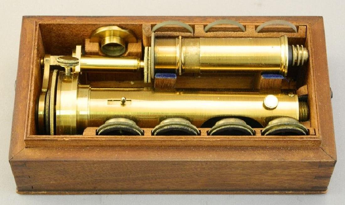 19th. century mahogany cased desk top brass microscope, - 5