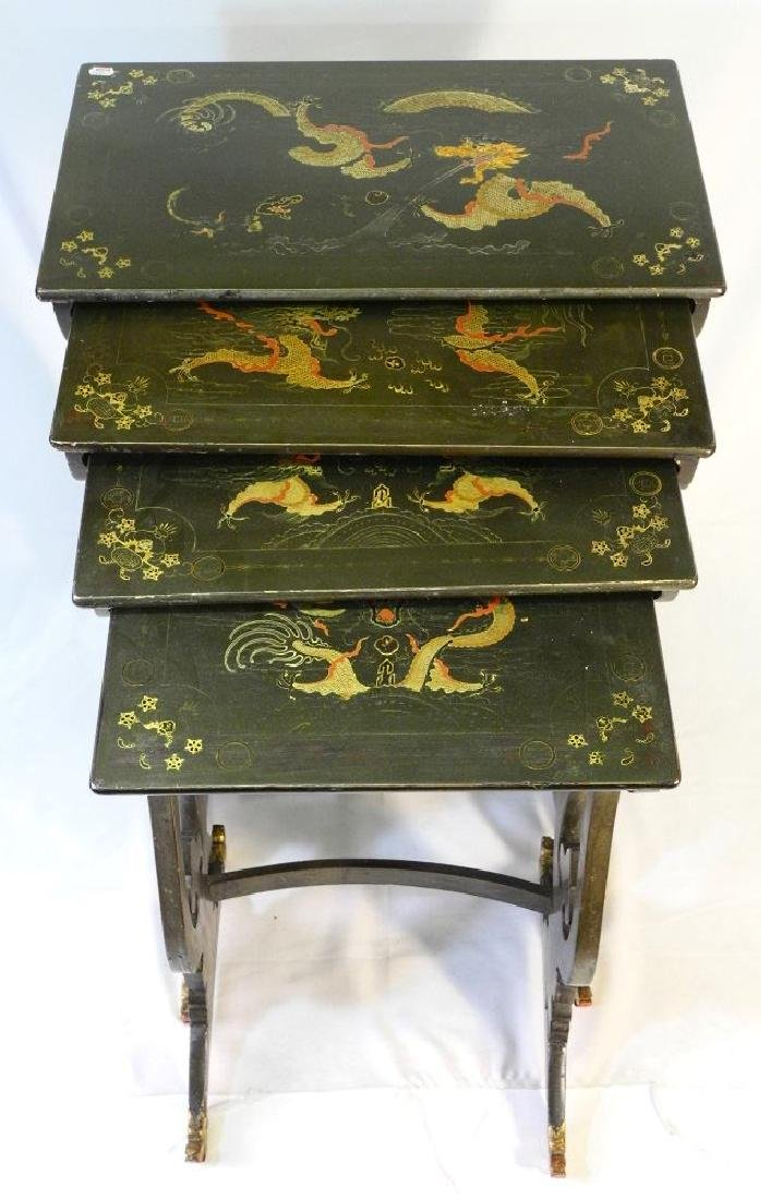Chinese nest of four green lacquered tables with dragon