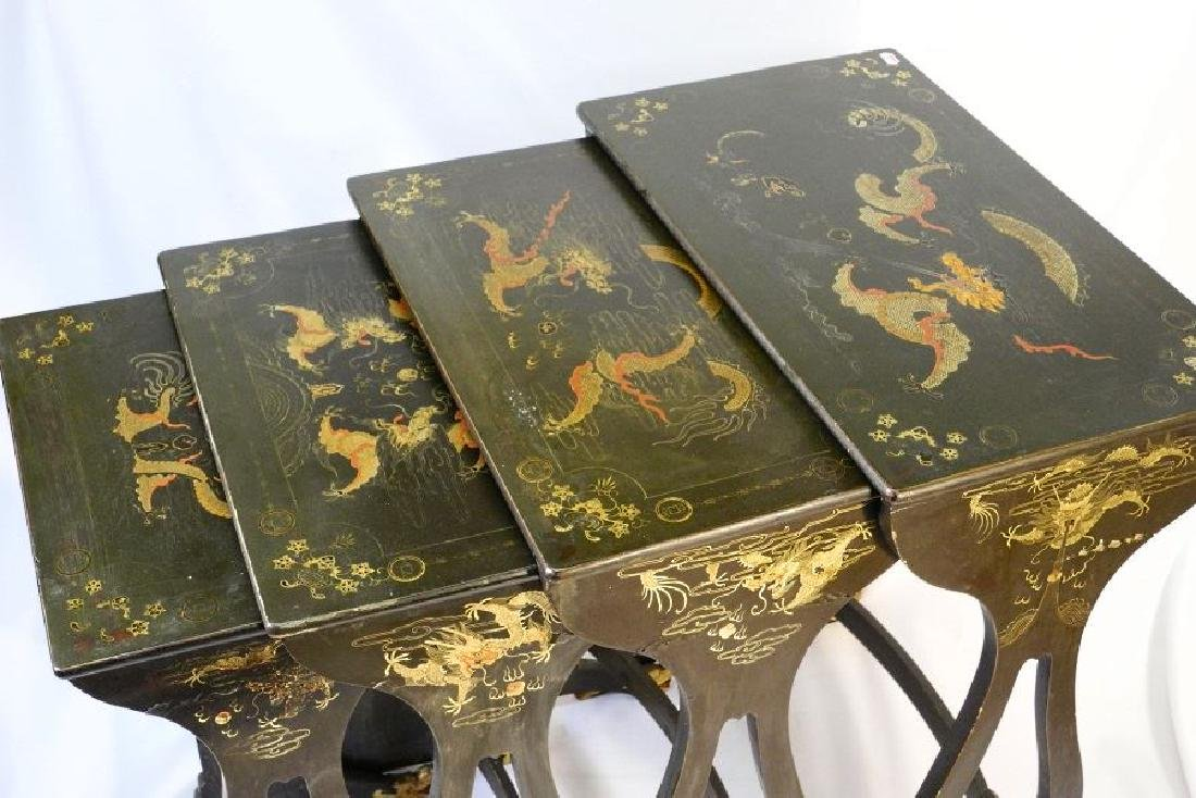 Chinese nest of four green lacquered tables with dragon - 6