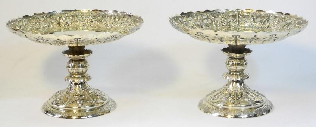 Pair Victorian gilded silver compotes by Martin & Hall