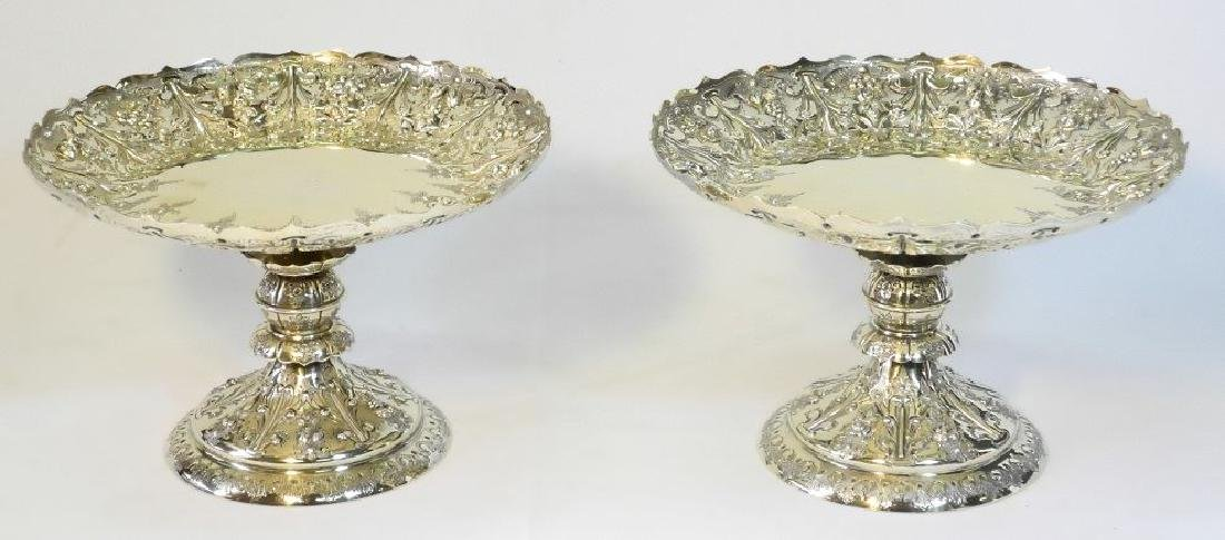 Pair Victorian gilded silver compotes by Martin & Hall - 2