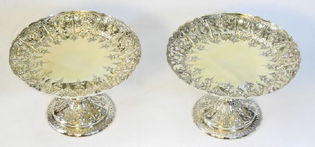 Pair Victorian gilded silver compotes by Martin & Hall - 3