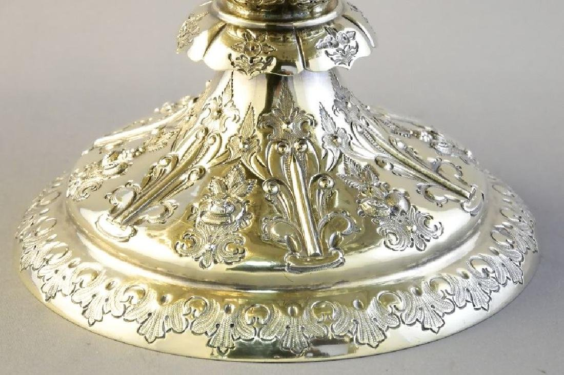 Pair Victorian gilded silver compotes by Martin & Hall - 6
